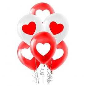 Kırmızı beyaz kalp baskılı balon